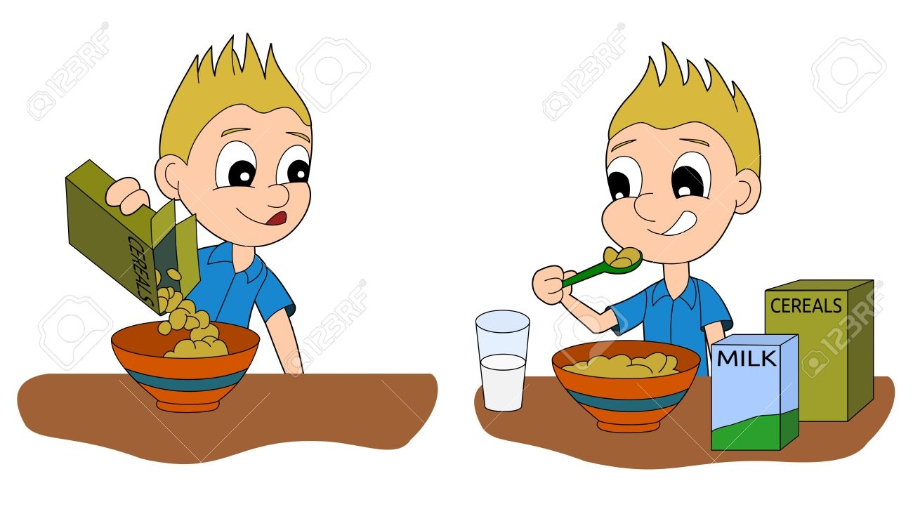 Boy Eating Breakfast Clipart