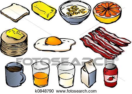 Stock Illustration - Breakfast clipart. Fotosearch - Search Clipart,  Illustration Posters, Drawings and