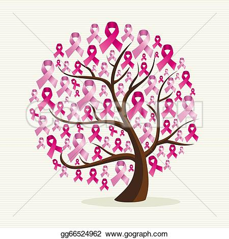 breast cancer u0026middot; Breast cancer awareness conceptual tree with pink ribbons. EPS10 vector file organized in layers for