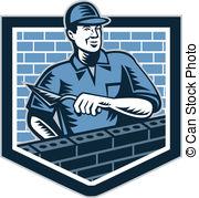 ... Brick Layer Mason Masonry Worker Retro - Illustration of a.