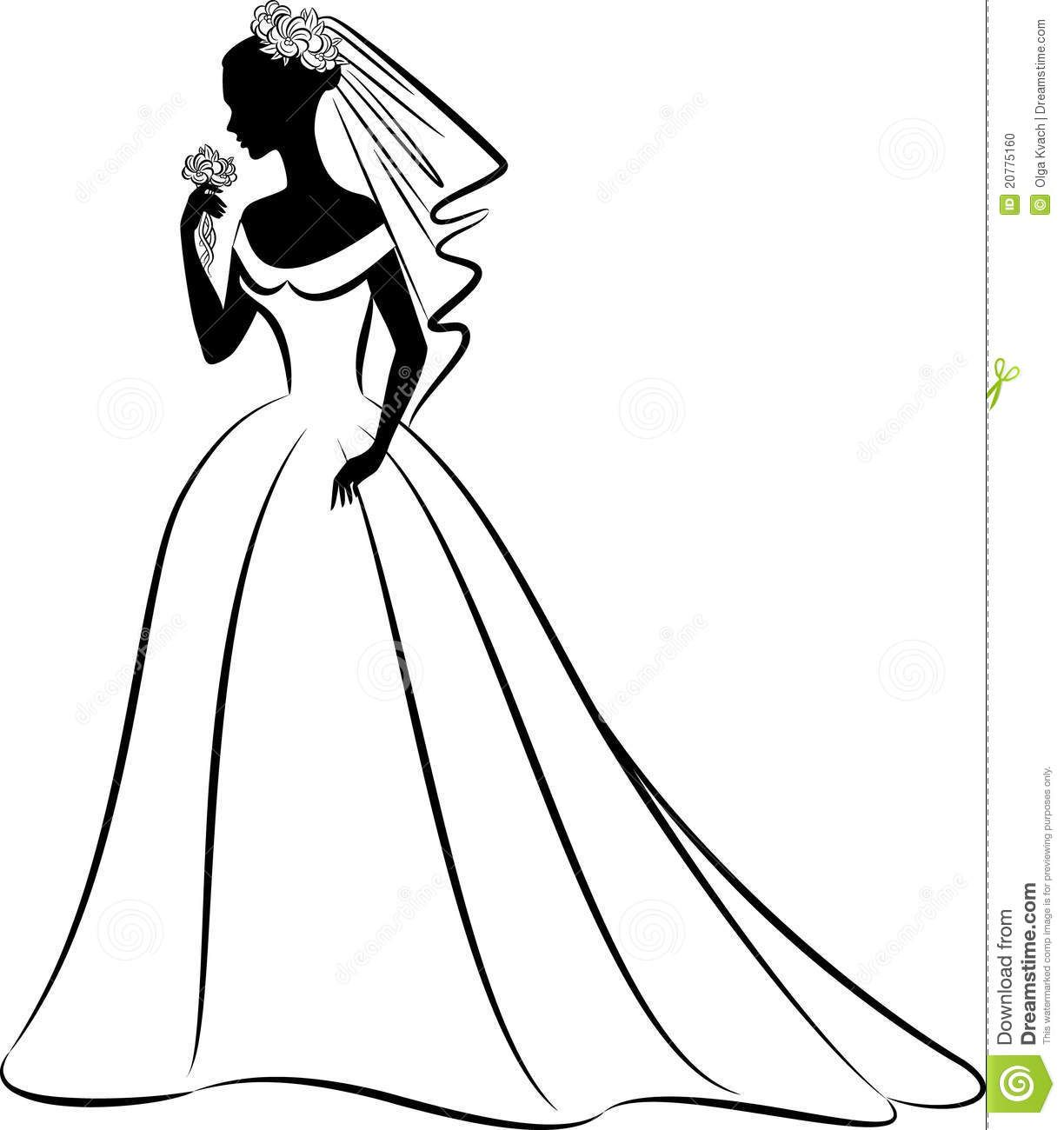 bridal clip art black and whi - Bride Clipart