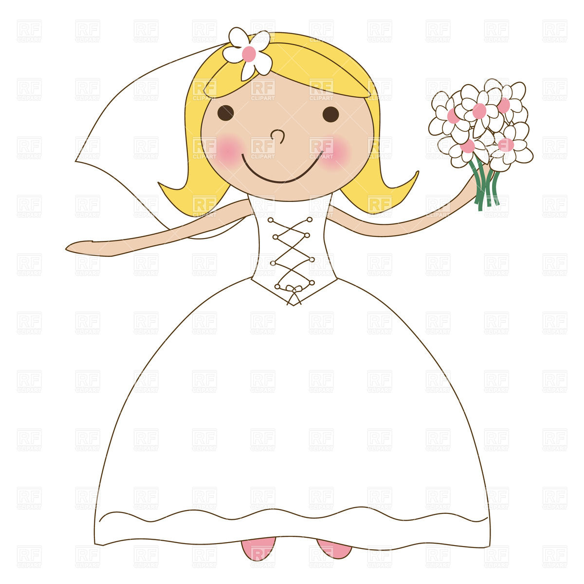 Bride In Wedding Dress With Bunch Of Flowers 22382 Holiday Download