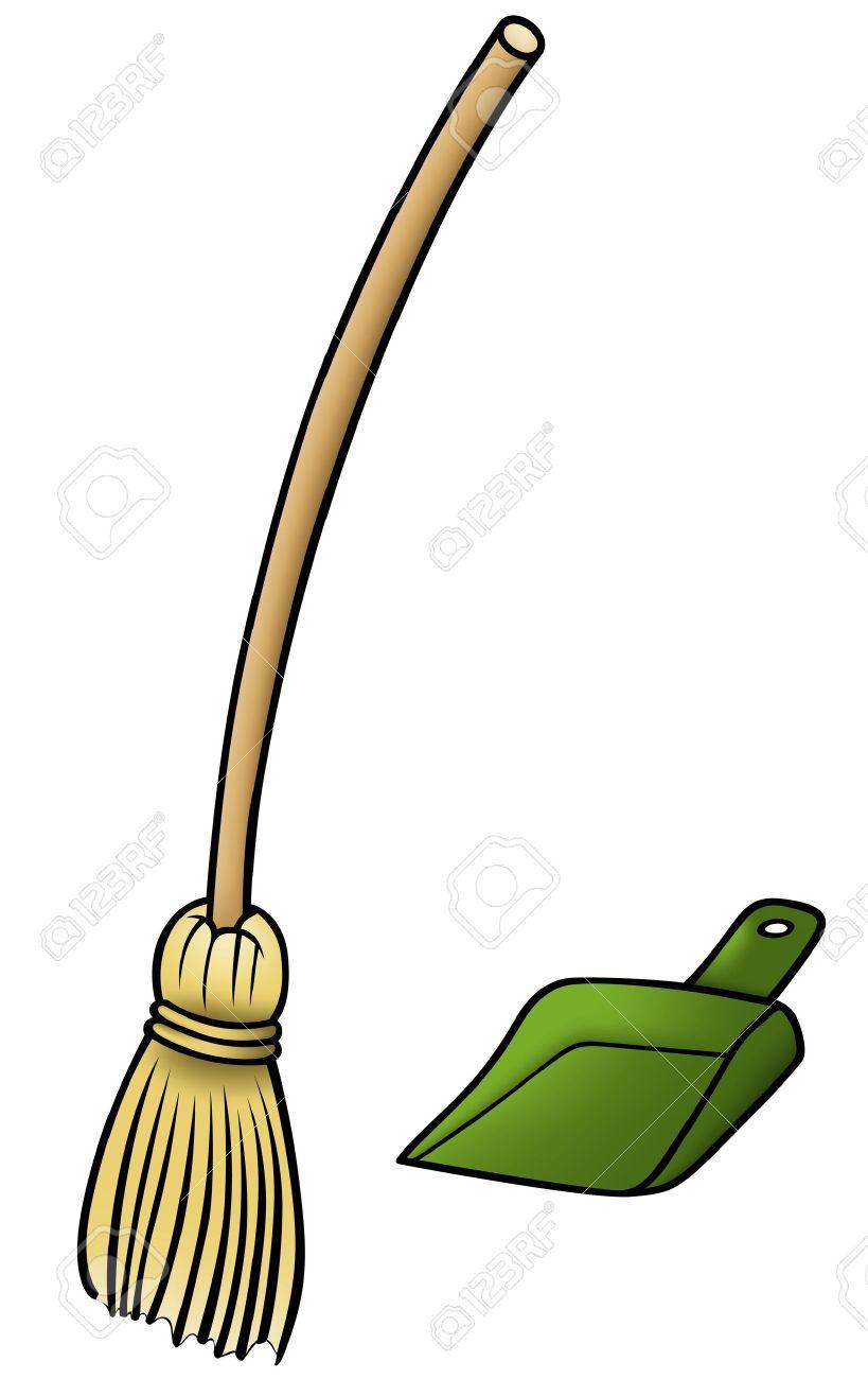 Broom and Scoop - Cartoon Illustration, Stock Vector - 12483193