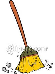 Broom Sweeping Dust - Royalty Free Clipart Picture