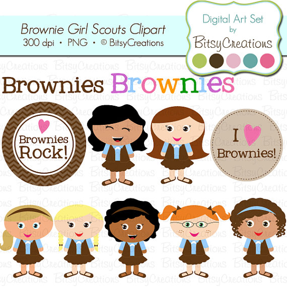 Brownie Girl Scouts Digital Art Set Clipart By Bitsycreations