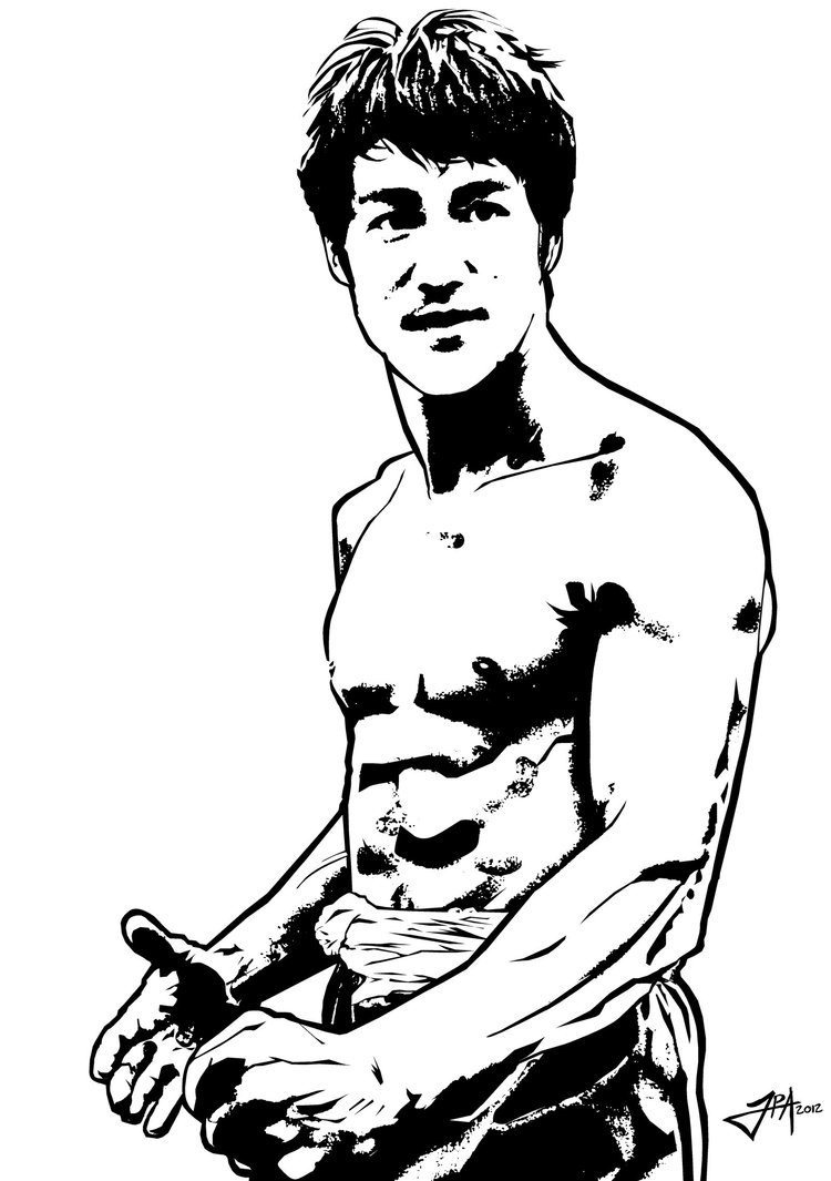 Bruce Lee - vector - black and white by ludy83 ClipartLook.com