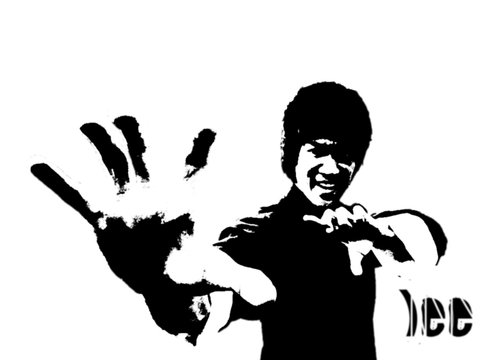 Graffiti stencil image of Bruce Lee