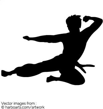 Vector silhouette of Martial artist Bruce Lee doing a fly kick in the air.  DOWNLOAD this Bruce Lee vector clipart for a few dollars (formats available  AI, ClipartLook.com