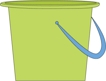 Sand Bucket Clip Art Image - green sand bucket with a blue handle.