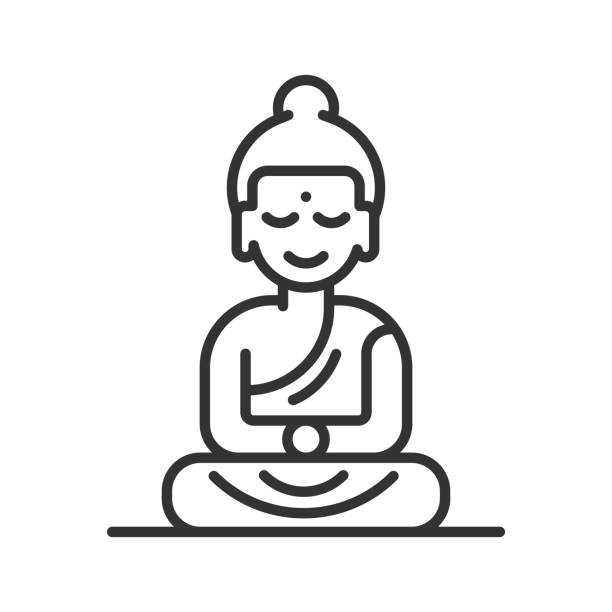Buddha Line icon vector art illustration