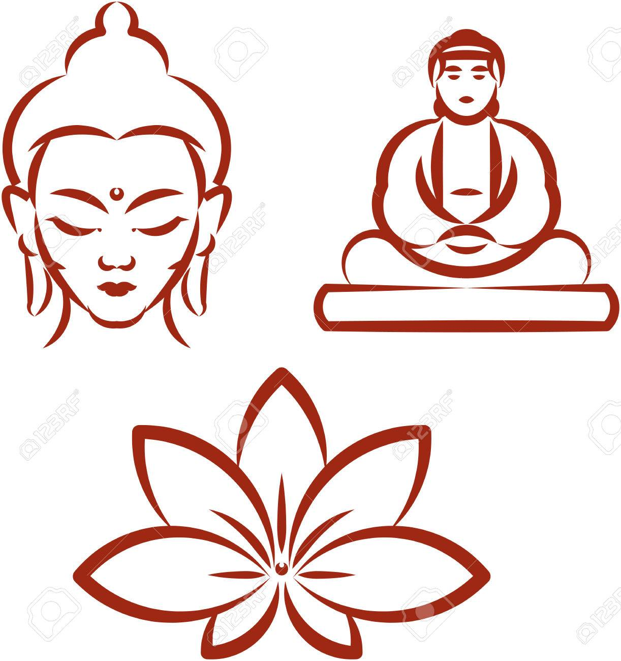 Buddha and Lotus -Symbols of Buddhism Stock Vector - 53058262