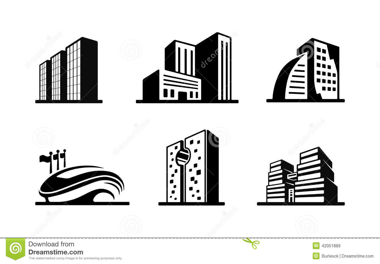 Building Clipart Black And White Set Of Black And White Vector