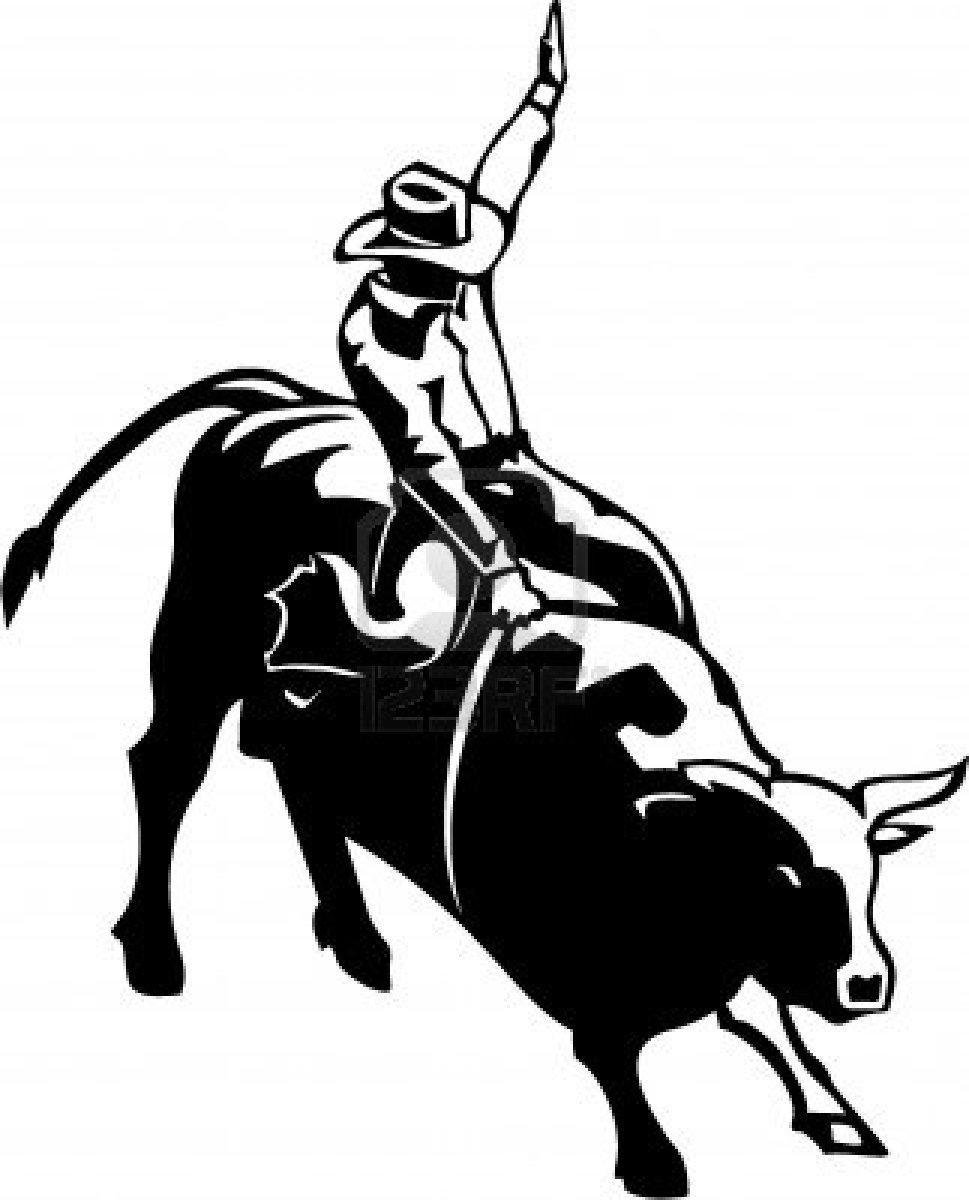 ... Bull riding clip art ...