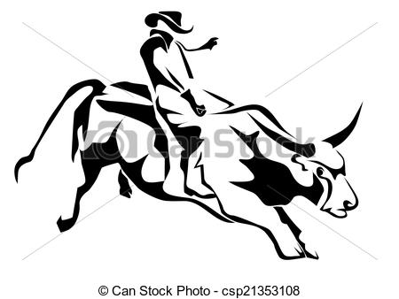 ... bull riding. silhouette cowboy and bull isolatd on white