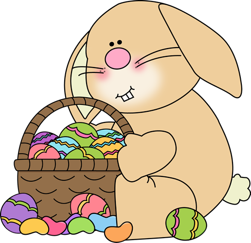 Bunny Sitting with an Easter  - Easter Bunny Clipart