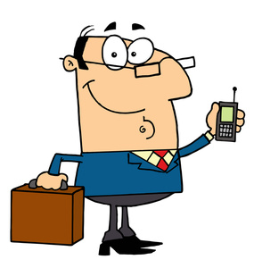 Businessman Clipart Image: Sucessful Well-Dressed Businessman with  Briefcase and Cell Phone
