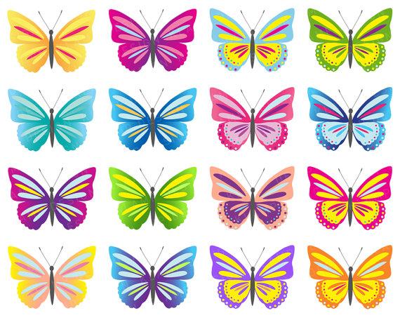 Butterfly Clip Art, Digital Butterflies Clipart, Colorful Butterflies  Clipart, Scrapbook Butterfly, Colorful Butterfly, Butterfly Printable from  KlampDesign hdclipartall.com