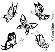 . hdclipartall.com Set black white butterflies of a ta - Black a white set of.