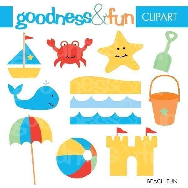 Buy 2, Get 1 FREE - Beach Fun Clipart - Digital Beach Clip Art - Instant Download