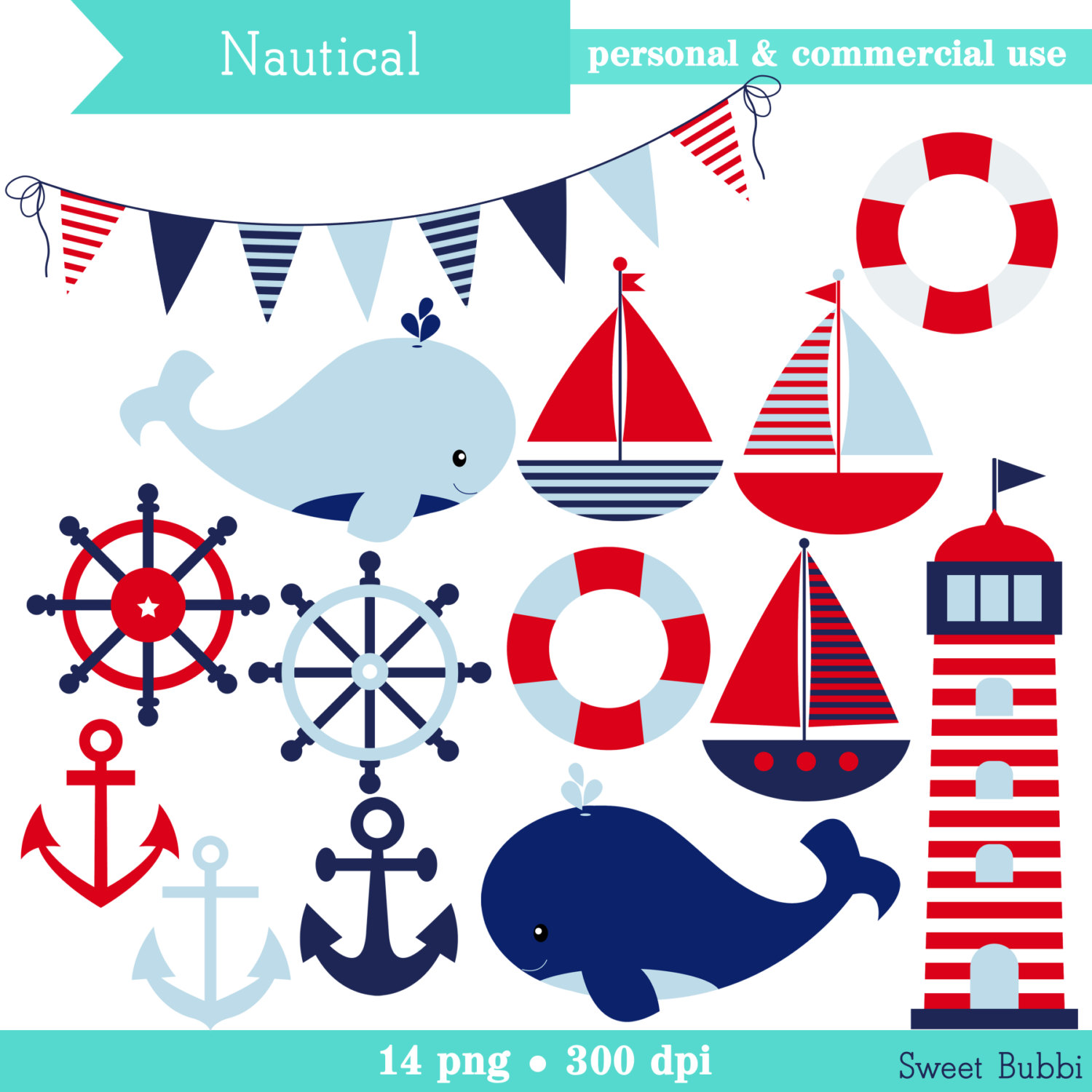 Buy 2, Get 1 FREE - Boyu0026#39;s Nautical Clipart - set of boats, anchors, lighthouse, whales, banner - Commercial Use, Instant Download
