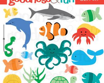 Buy 2, Get 1 FREE - In The Sea Animal Clipart - Digital Ocean u0026amp; Sea Animal Clipart - Instant Download