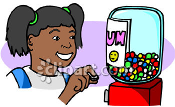 african american girl buying a gumball royalty free clipart image .