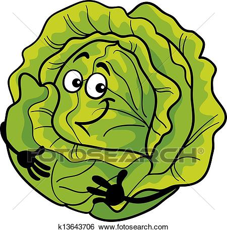 Clip Art - cute cabbage vegetable cartoon illustration. Fotosearch - Search  Clipart, Illustration Posters