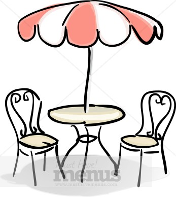 Cafe Table With Red And White Umbrella Clipart