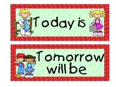 Calendar cards that include the days of the week, Today is, Yesterday was,