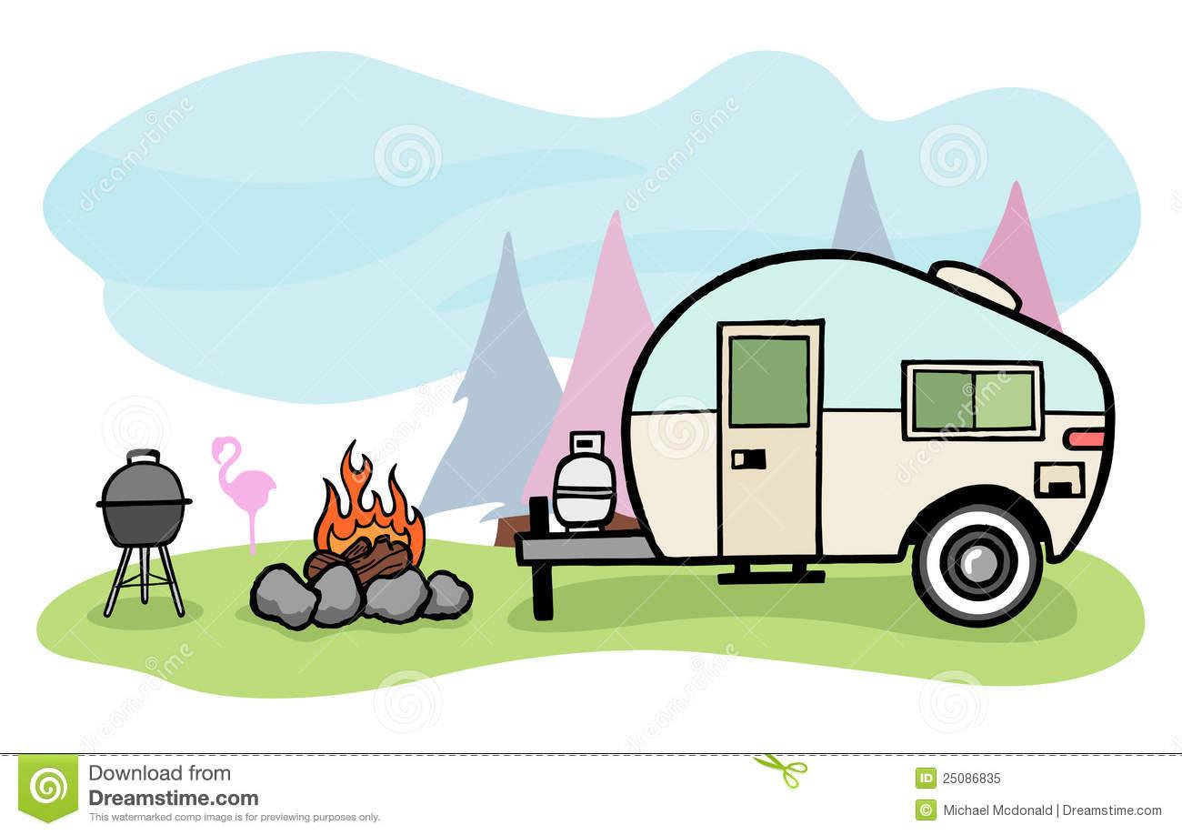 Camper illustration Royalty Free Stock Photo