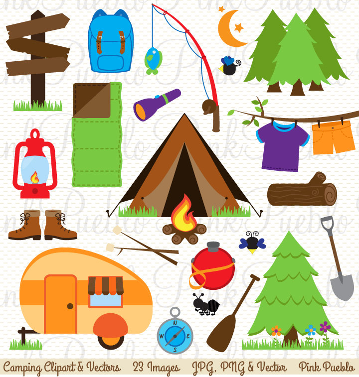 Camping Clip Art, Camping Clipart, Camping Invitation or Camping Birthday Clipart - Commercial and Personal Use
