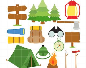 Camping Fun, Outdoor Adventure, Bonfire, Forest, Wild Life Digital Clip Art For Planners, Scrapbooking