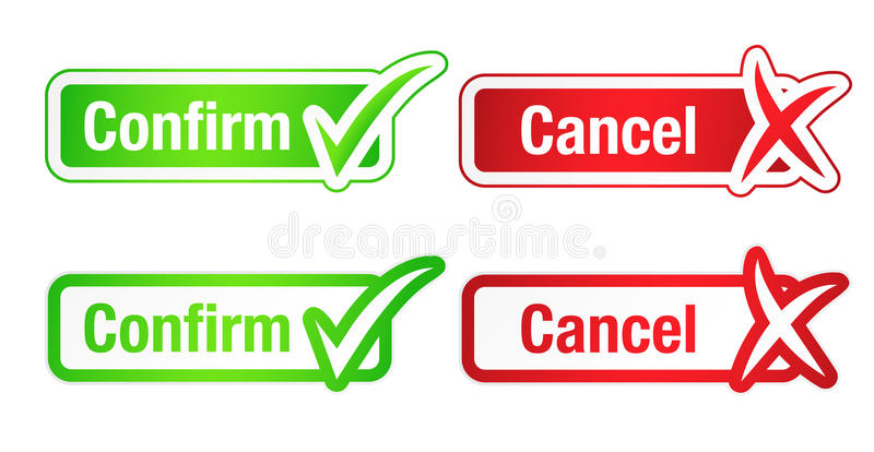 Download Confirm And Cancel Buttons With Checkmarks Stock Vector -  Illustration of sticker, checkmark:
