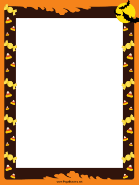 Bats and Candy Corn Halloween Border page border