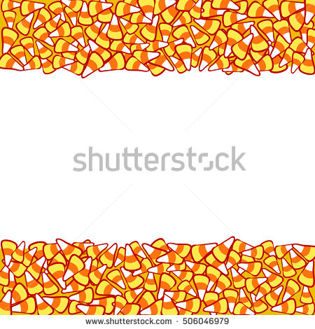 Candy corn double border, isolated on white. Halloween vector frame. Hand  drawn sketchy