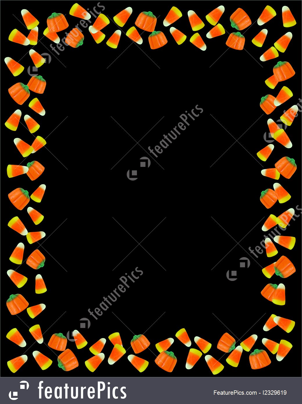 Halloween Candy Corn Border On Black Background Royalty-Free Stock  Illustration