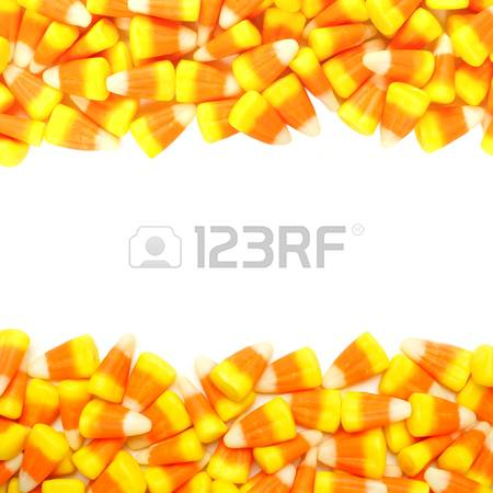 Halloween candy corn double border over white photo