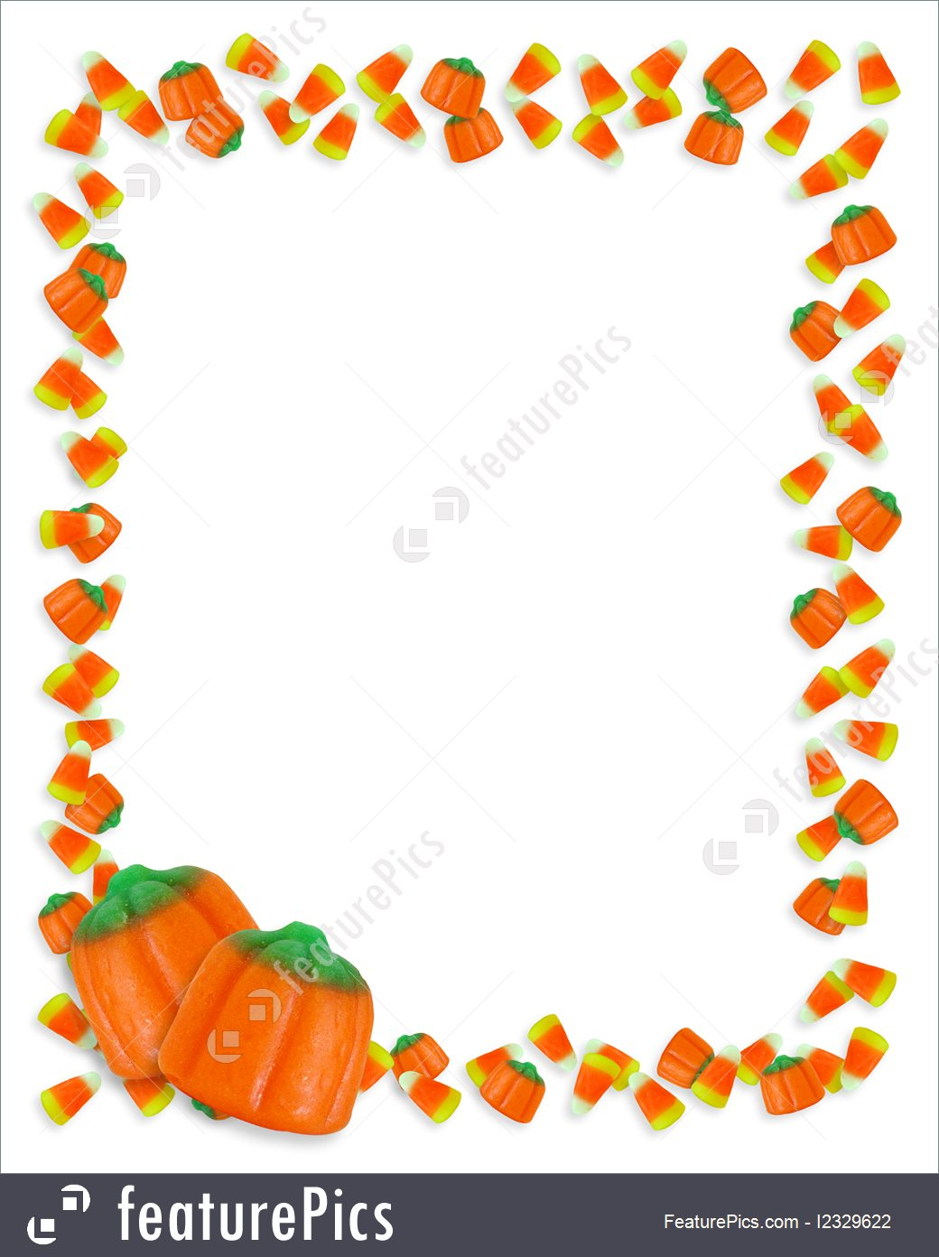 Templates: Image and illustration composition of candy corn for Halloween  Card, invitation, border