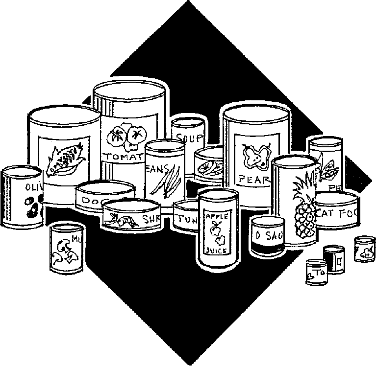Canned food black and white clipart kid