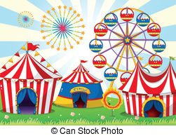 . ClipartLook.com A carnival with stripe tents - Illustration of a carnival.