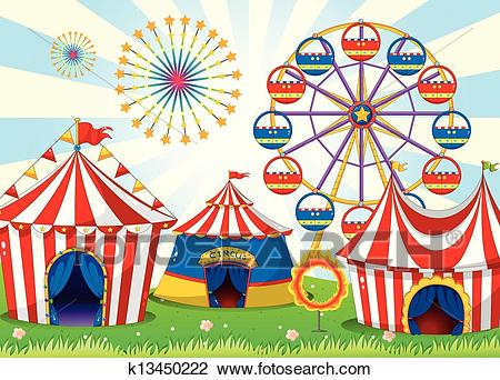 Clipart - A carnival with stripe tents. Fotosearch - Search Clip Art,  Illustration Murals