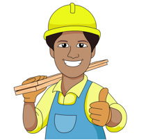 Carpenter wearing hard hat carries wood planks clipart. Size: 115 Kb