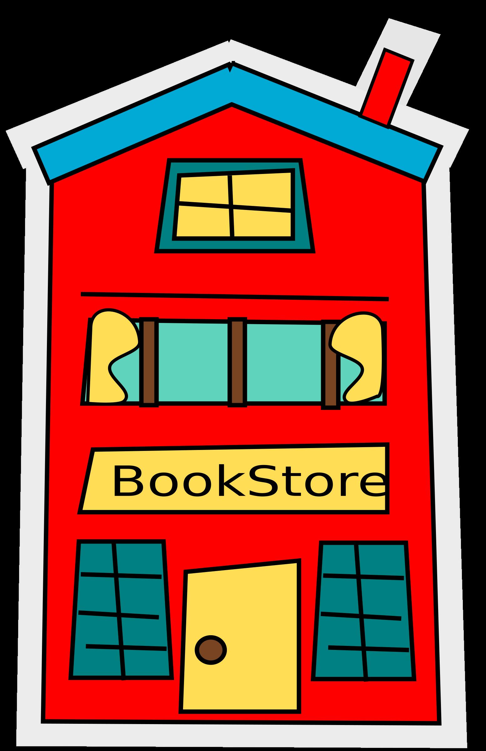 cartoon bookstore-building