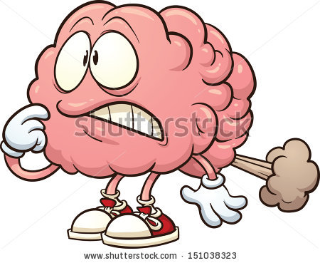 Cartoon brain having a brain fart. Vector clip art illustration with simple gradients. All