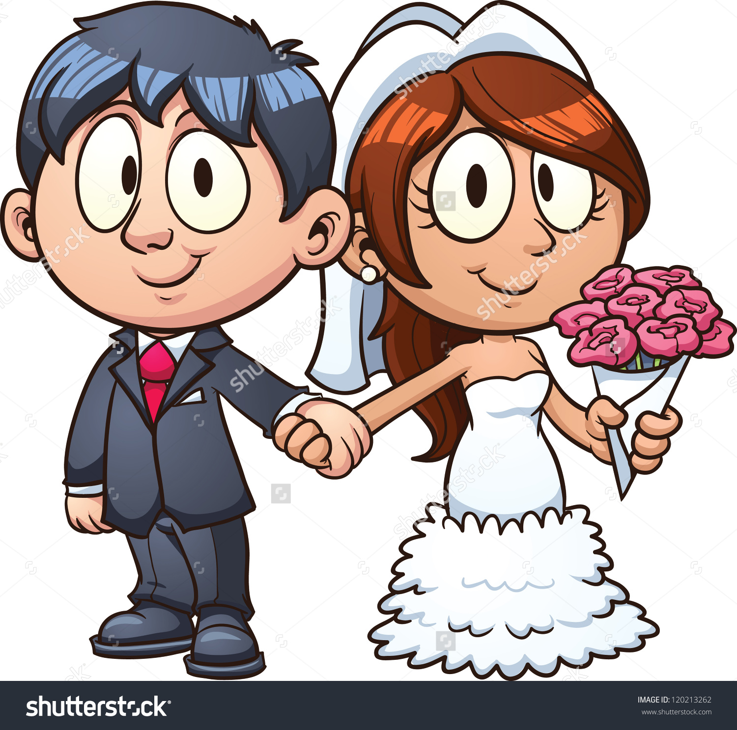 Cartoon bride and groom. Vector clip art illustration with simple gradients. All in a