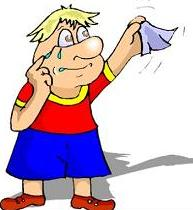 cartoon character waving hankerchief and saying sad goodbye