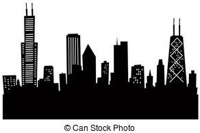 Cartoon Chicago Skyline - Cartoon skyline silhouette.