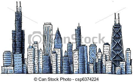 ... Cartoon Chicago Skyline - Cartoon skyline silhouette.