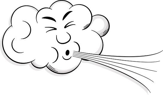 cartoon cloud blows wind .
