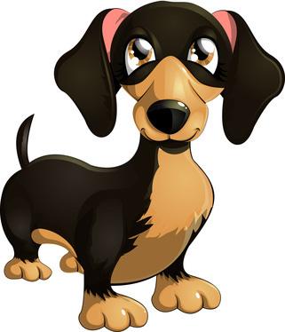 Cartoon Dachshund Dog Illustration, Clip Art